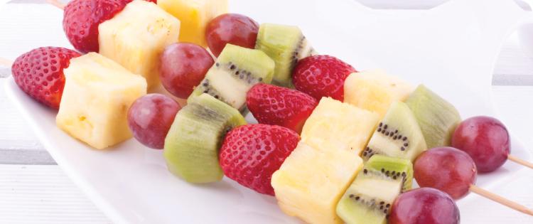 fruit skewered