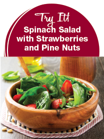 Spinach Salad with Strawberries and Pine Nuts recipe