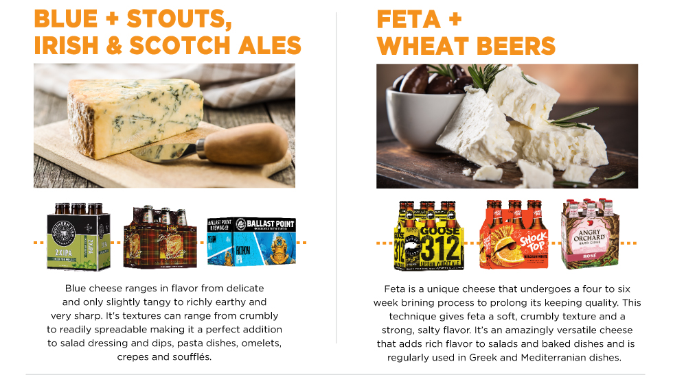 Blue plus Stouts, Irish and Scotch Ales, Feta & Wheat Beers