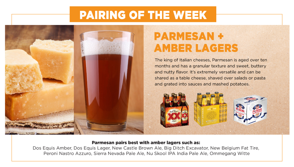 Parmesan and Amber Lager, Pairing of the Week