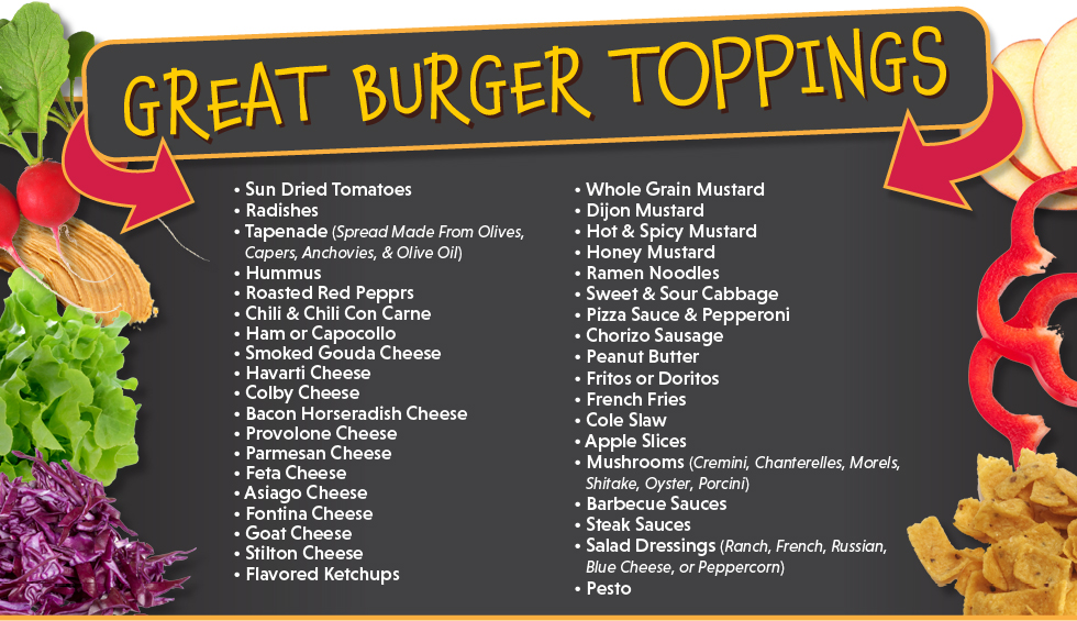 Great Burger Toppings