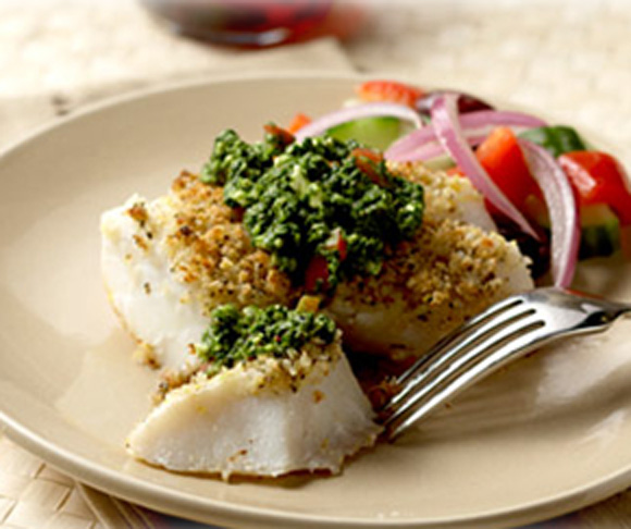 Crispy Alaska Cod with Greek Pesto Recipe