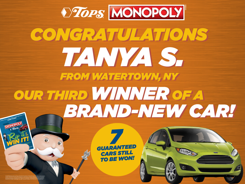 TOPS Monopoly Winner