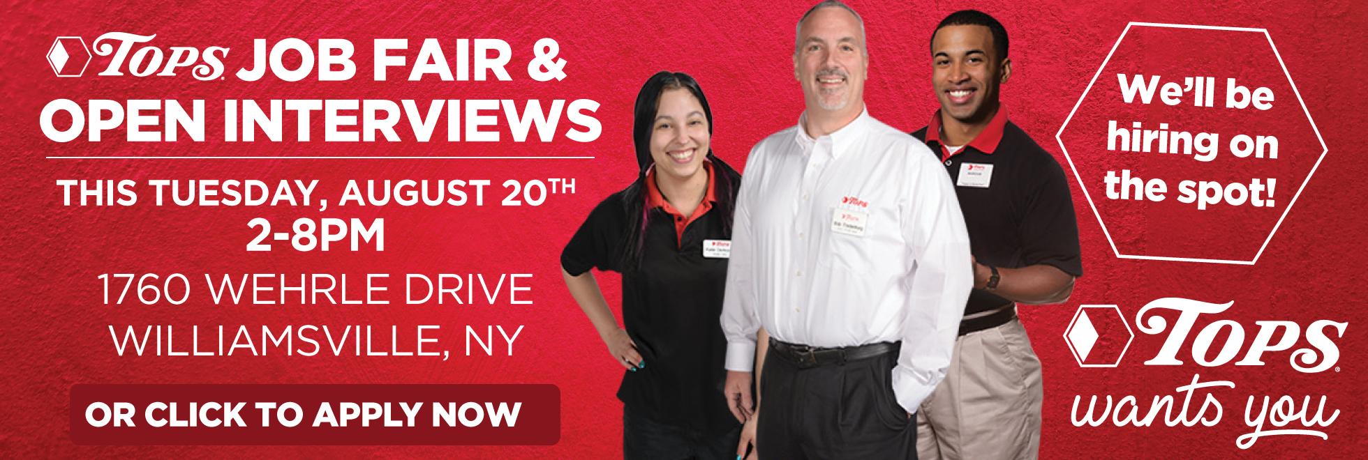 Tops Job Fair Tuesday August 20th