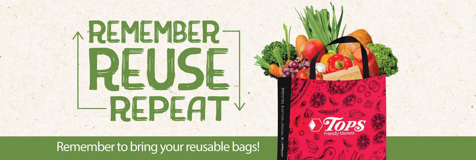 Remember Reuse Repeat Reusable Bags