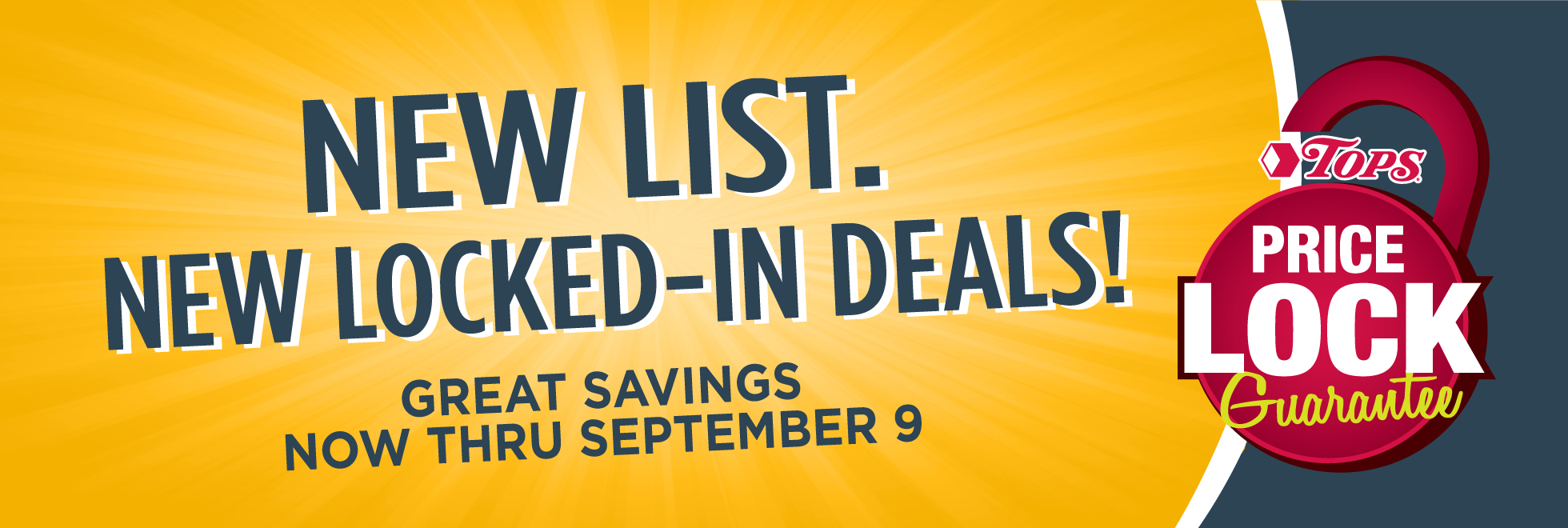 New Price Lock Lists Thru September 9th