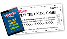 Tops Friendly Markets - Monopoly 2019- Online Game Prizes